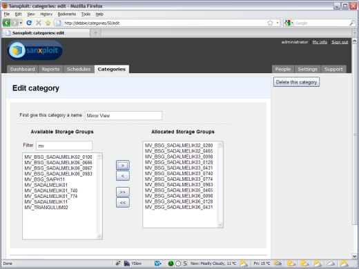 Users can categorize Storage Group's for aggregated reporting